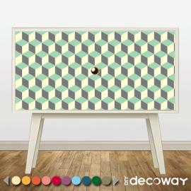 Sticker décoratif pour meuble style cubik