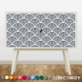 Deco tendance : relooking de meuble, commode motif Art Deco paon