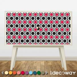 Decorer appartement meublé en location avec sticker motif géométrique, graphique, hexagonal
