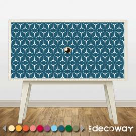 Relooker vos meubles, commodes, tiroirs avec adhésif motif géométrique cubique
