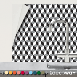 Crédence adhésive en rouleau motif géométrique cubik