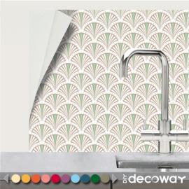 Crédence adhésive pour cuisine et salle de bain motif Art Deco Paon