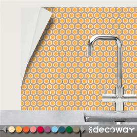 Adhésif mural pour cuisine et salle de bains motif géométrique Hexagone